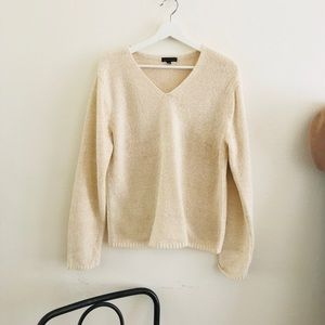 Carolyn Taylor V-Neck Cream Sweater Top